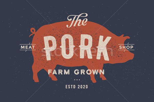 Stockfoto: Varken · varkensvlees · poster · vlees · winkel · vintage
