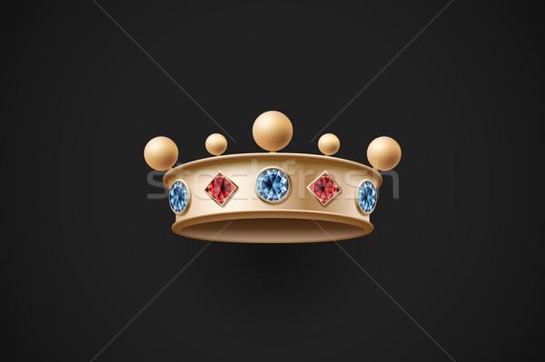 Icon goud koninklijk kroon Rood Blauw Stockfoto © FoxysGraphic