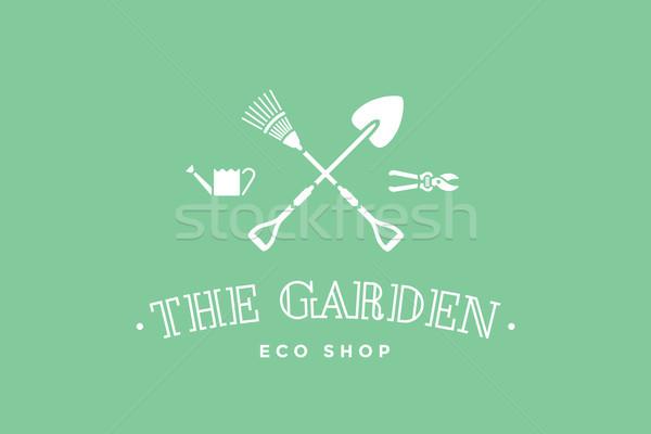 Etiqueta eco tienda jardín símbolo jardinería Foto stock © FoxysGraphic
