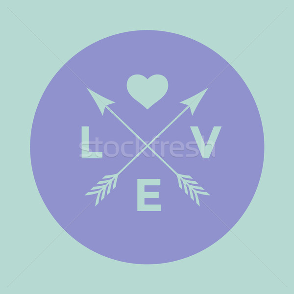 Stock photo: Logo badge for creative design project. Hipster embleme with arrow, heart and word Love