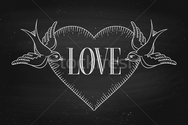 Set of old vintage ribbon banner with word Love, heart and tattoo bird Stock photo © FoxysGraphic