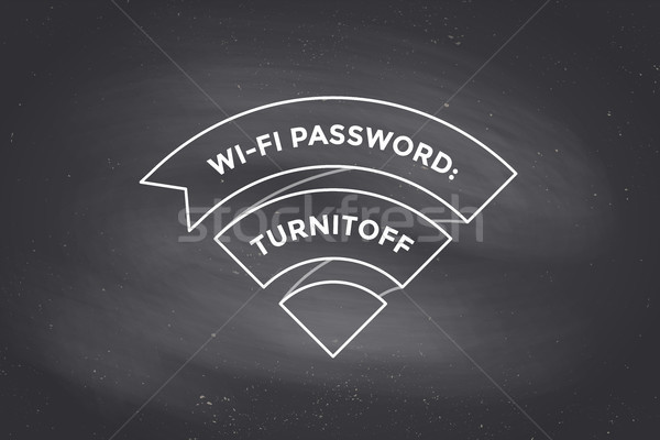 Vintage ribbon Wi-Fi sign for free wi-fi on chalkboard Stock photo © FoxysGraphic