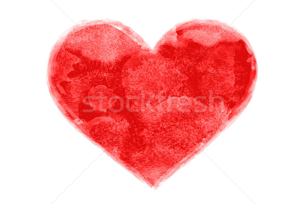 Hand-drawn watercolor painted red heart shape Stock photo © FoxysGraphic