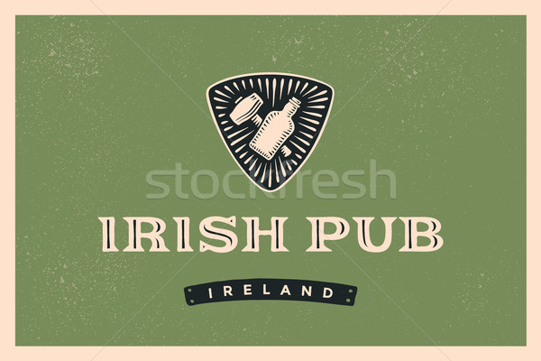 Klassiek retro label Ierse pub logo Stockfoto © FoxysGraphic