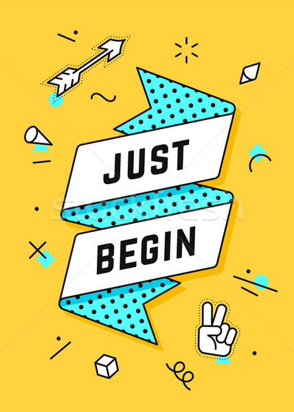 Just Begin. Vintage ribbon banner Stock photo © FoxysGraphic