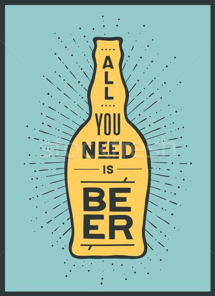 Poster bier niet banner bierfles tekst Stockfoto © FoxysGraphic
