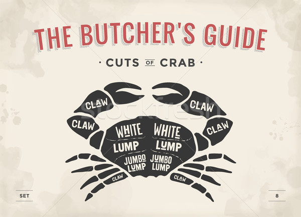Cut of meat set. Poster Butcher diagram and scheme - Crab Stock photo © FoxysGraphic