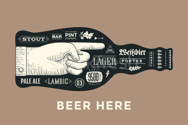 Poster bottle of beer with hand drawn lettering Stock photo © FoxysGraphic