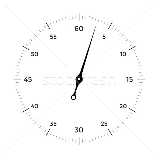 White clock face for with black and red pointer on white background Stock photo © FoxysGraphic