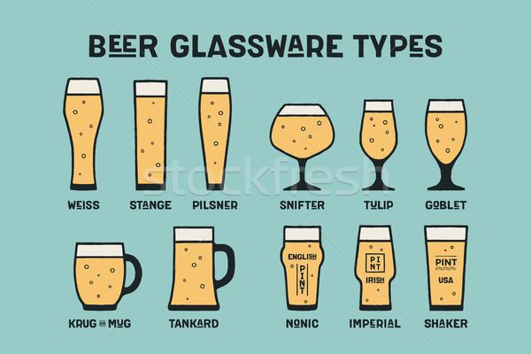 Anunciante cerveza cristalería banner diferente vidrio Foto stock © FoxysGraphic