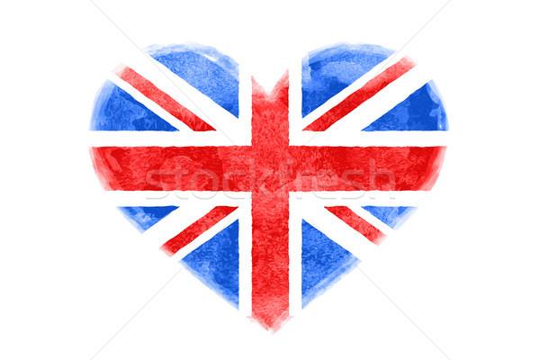 Zdjęcia stock: Plakat · akwarela · kształt · serca · Ameryki · banderą · wielka · brytania
