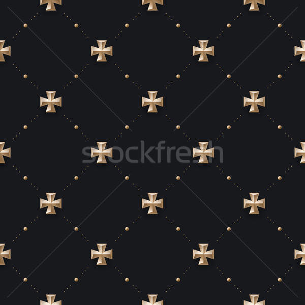 Seamless luxury dark black pattern and background with cross Stock photo © FoxysGraphic