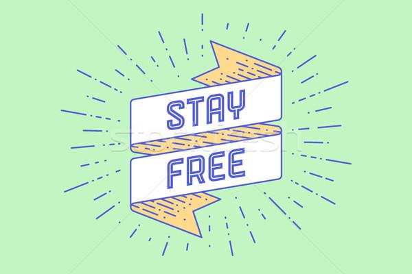Vintage lint tekst blijven gratis banner Stockfoto © FoxysGraphic