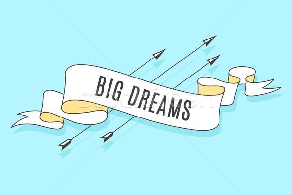 Ruban texte grand rêves coloré Photo stock © FoxysGraphic