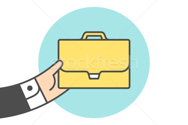 Ikon aktatáska üzletember kéz citromsárga vonal Stock fotó © FoxysGraphic