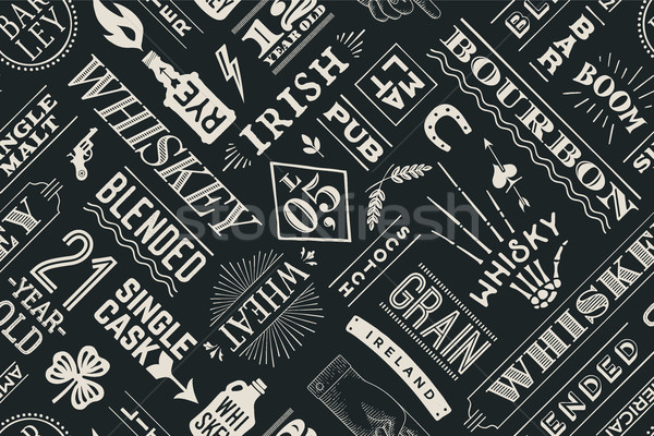 Seamless pattern with types of whiskey Stock photo © FoxysGraphic
