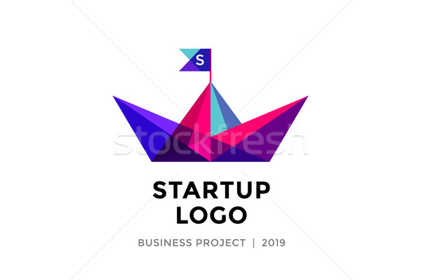 Design template of colorful paper boat with inscription Startup Logo Stock photo © FoxysGraphic