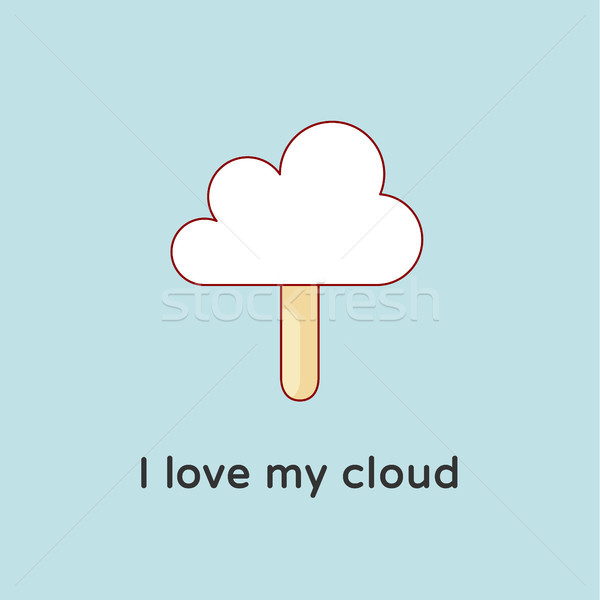 Icon of Cloud files with ice cream and candy-floss. Creative concept graphic design Stock photo © FoxysGraphic