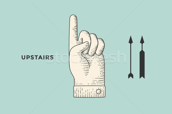 Stock photo: Drawing of hand sign with thumbs up in engraving style