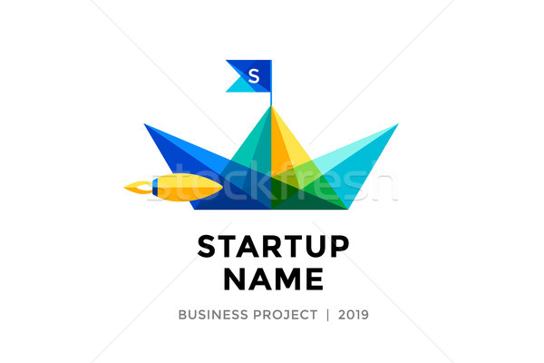 Design template of colorful paper boat with inscription Startup Name Stock photo © FoxysGraphic