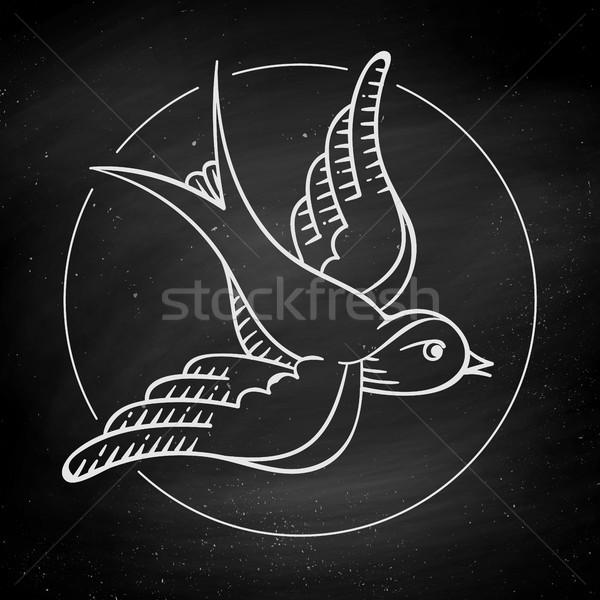 Ikon madár tetoválás izolált fekete tábla Stock fotó © FoxysGraphic