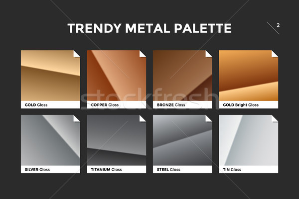 Gold, copper, bronze and silver gradient template Stock photo © FoxysGraphic