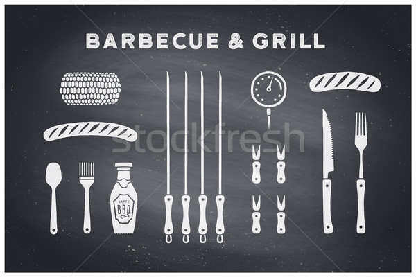 Barbecue and grill tools Stock photo © FoxysGraphic