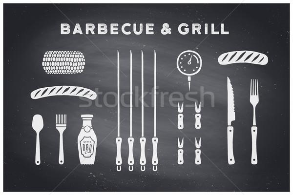 Barbecue grill szerszámok szett poszter BBQ diagram Stock fotó © FoxysGraphic