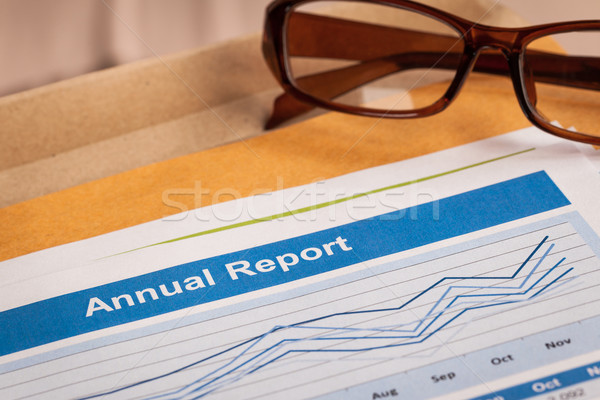 Annual Report letter document and eyeglass  Stock photo © FrameAngel