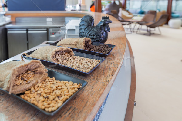 コーヒー 穀類 表 木材 壁 ストックフォト © FrameAngel