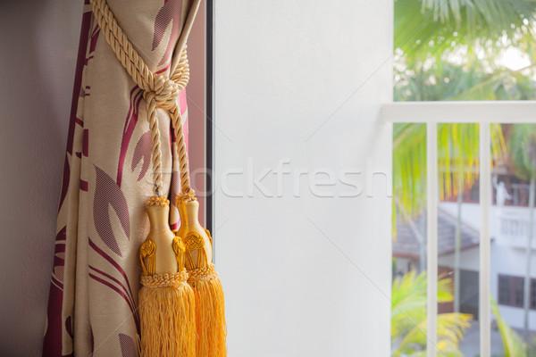 Luxe gordijn buiten terras huis Stockfoto © FrameAngel