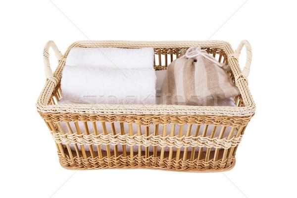 Foto stock: Toalha · estância · termal · conjunto · cesta · saúde · espaço