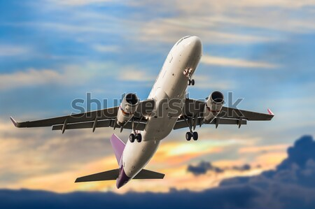 Passenger business airplane take off and flying on sky sunset, u Stock photo © FrameAngel