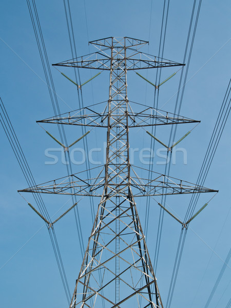 высокое напряжение власти полюс свет металл синий Сток-фото © FrameAngel