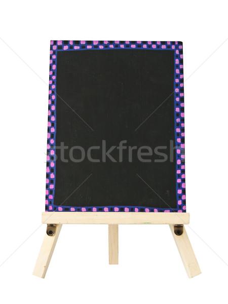 Stock photo: empty blackboard with tripod wooden
