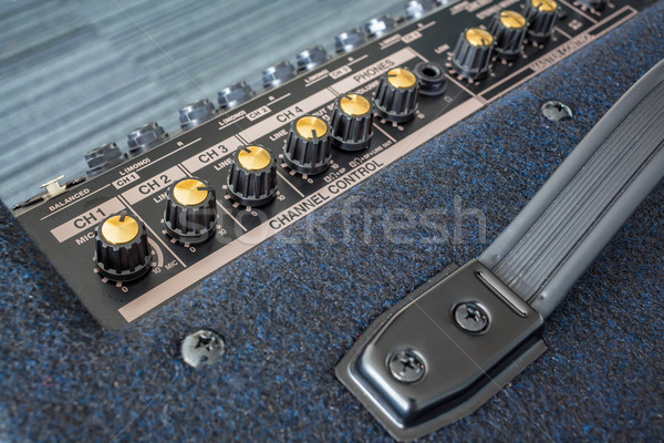 Button of Keyboard Power Amplifier, closeup view background Stock photo © FrameAngel