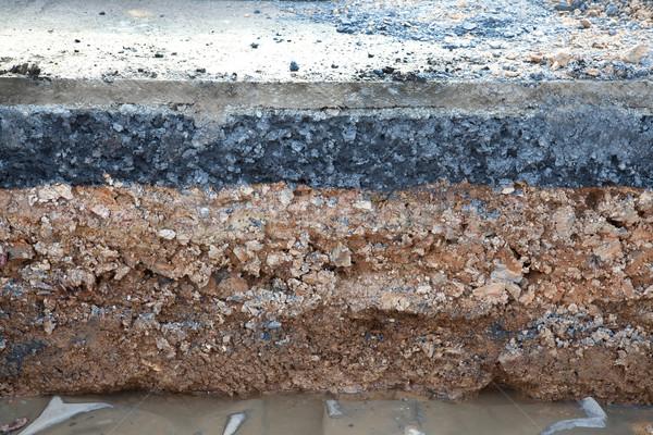 Layer soil beneath asphalt cement concrete Stock photo © FrameAngel