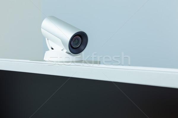 Teleconferentie video conferentie camera zwarte scherm Stockfoto © FrameAngel