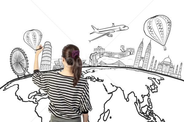asian woman drawing or writing dream travel around the world Stock photo © FrameAngel