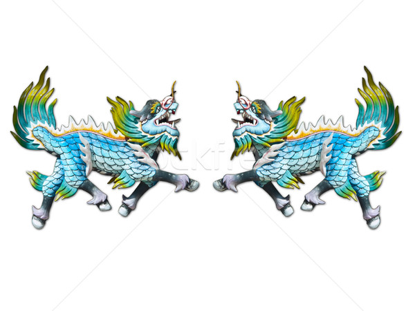 Dragon sculpture on wall of temple Stock photo © FrameAngel