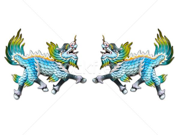 Dragão escultura parede templo Tailândia madeira Foto stock © FrameAngel