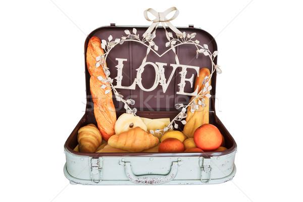 Brood ingesteld reizen bagage liefde witbrood Stockfoto © FrameAngel