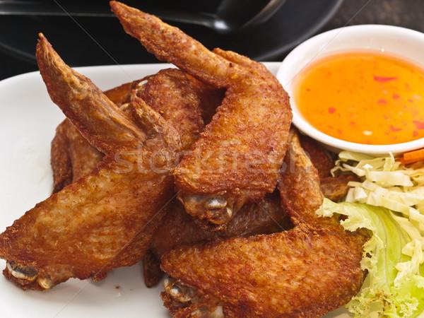 Сток-фото: жареная · курица · крыло · пластина · продовольствие · фон · куриные