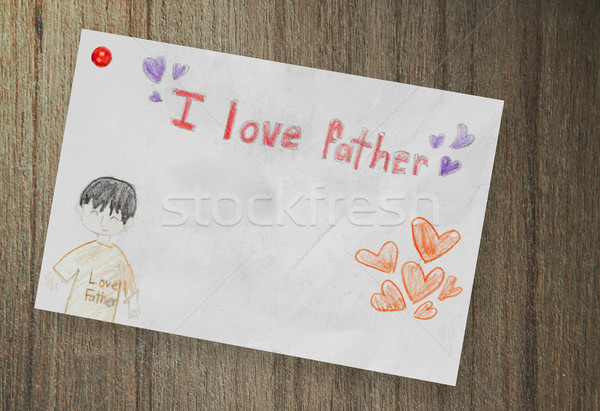 Happy Father's Day, paper on wood background Stock photo © FrameAngel
