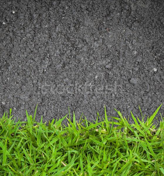 Zöld fű aszfalt textúra fű természet nyár Stock fotó © FrameAngel