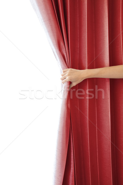 Opening the curtain and hand Stock photo © FrameAngel