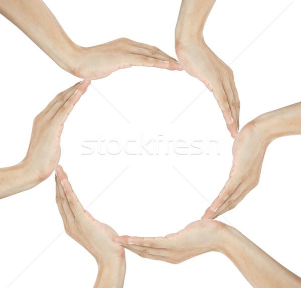 Photo stock: Humaine · mains · cercle · espace · de · copie · milieu
