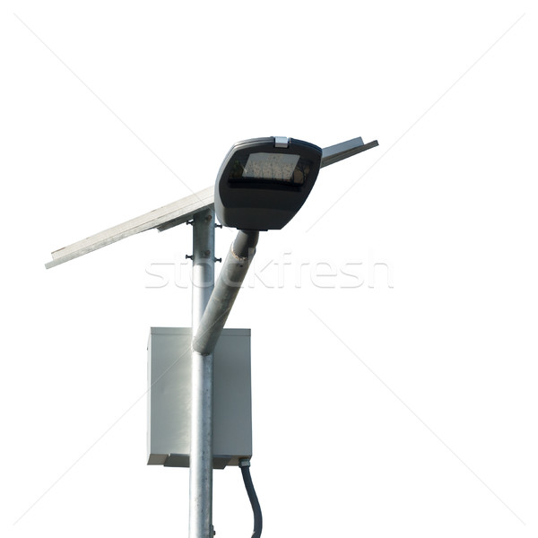 LED street lamps post with solar cell on white background closeu Stock photo © FrameAngel