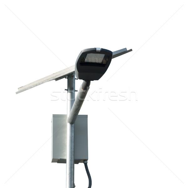 Sokak lambalar gönderemezsiniz güneş hücre beyaz Stok fotoğraf © FrameAngel