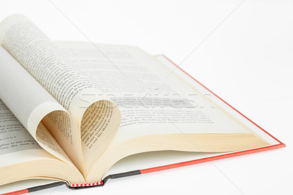 Açık kitap kalp şekli kitap kalp eğitim levha Stok fotoğraf © FrameAngel
